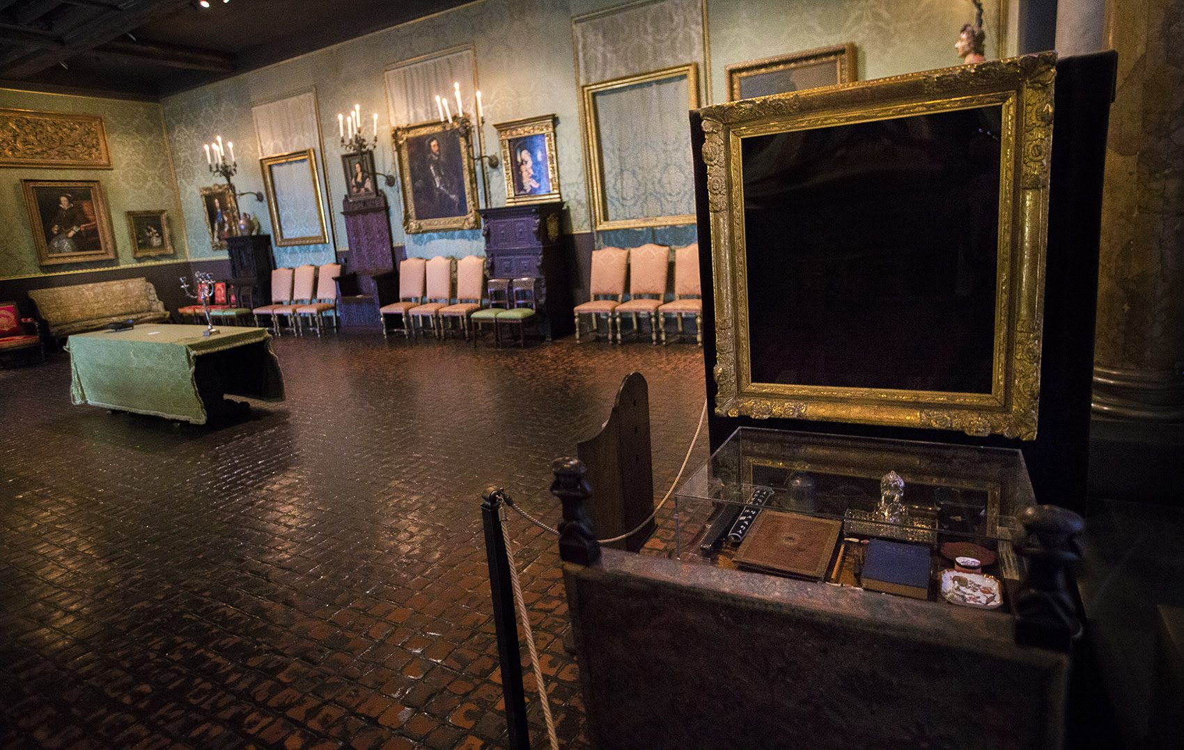 The Isabella Stewart Gardner Museum's Dutch Room, where thieves stole three Rembrandts, a Vermeer, a painting by Govaert Flinck and an ancient Chinese beaker. Photo by Jesse Costa for WBUR