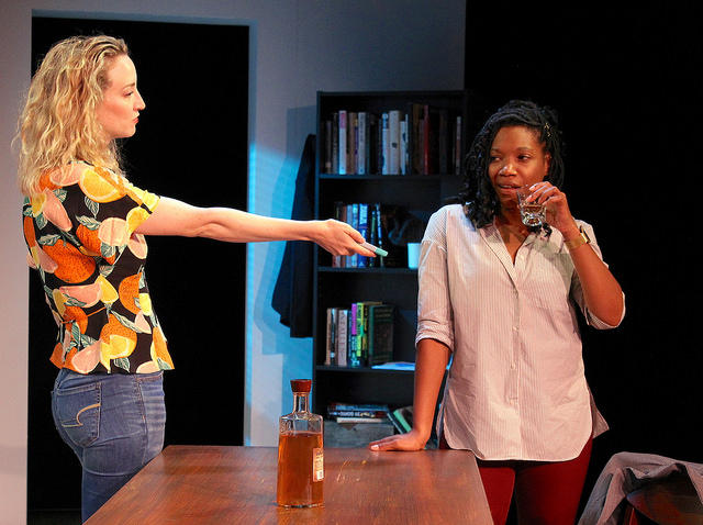 "Viv pushes Cass to call the police in Rachel Lynett's ""Well Intentioned White People."" Photo courtesy of Barrington Stage Company"