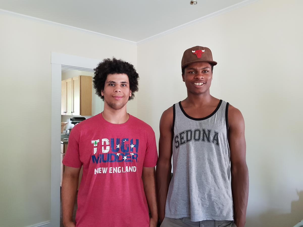 Nick Sanderson, left, and Will Krug, right, have been friends for more than 15 years. The two are high school seniors, and together they've navigated life as young black men in a predominately white area. Photo by Daniela Allee for NHPR