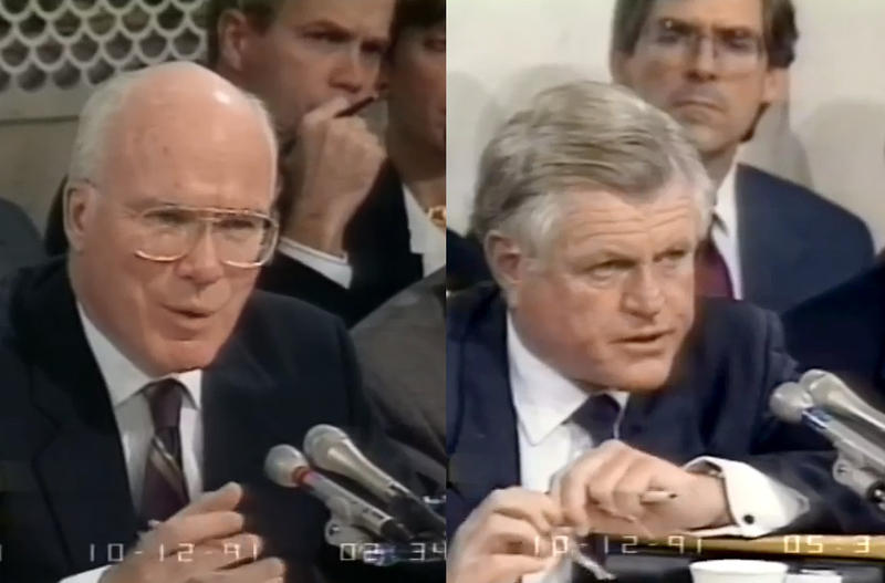 While Vermont Senator Patrick Leahy, at left, was front-and-center during the 1991 hearings investigating Supreme Court nominee Clarence Thomas, Massachusetts Senator from Ted Kennedy kept mostly quiet. Photo via screenshots from C-Span