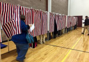 Voters leaving the ballot box. Photo by Allegra Boverman for NHPR