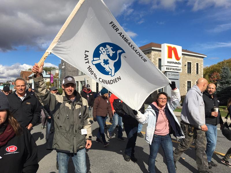 Several hundred Quebec farmers and their supporters took to the streets of Granby, Quebec last week to protest a new trade deal between the U.S., Canada and Mexico. Photo by John Dillon for VPR