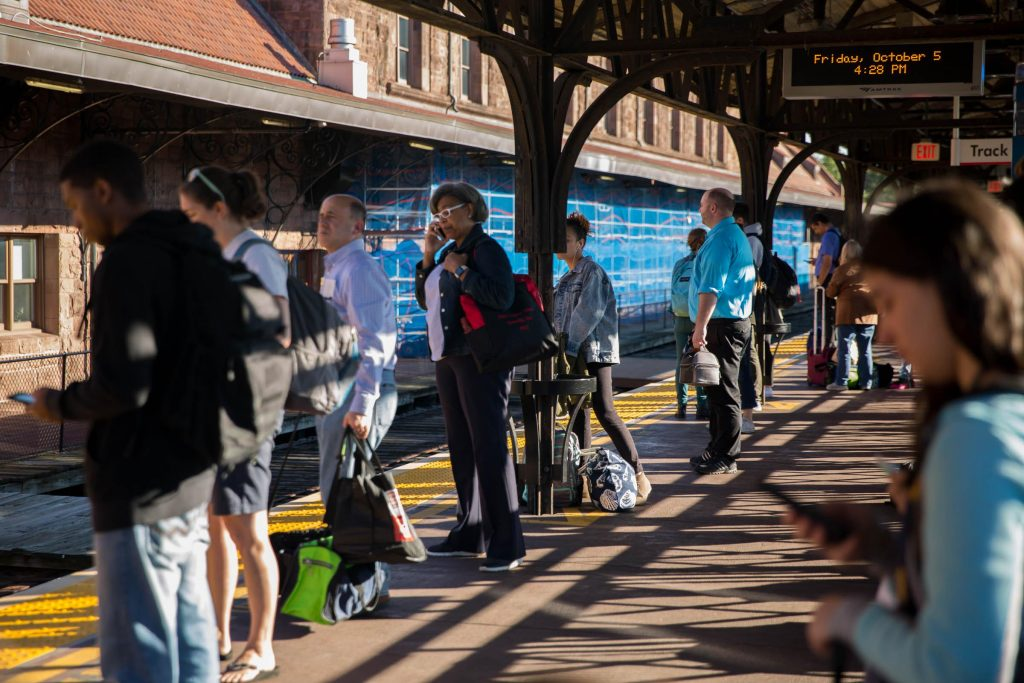 Riders prepare to get on the 4:32 p.m. Amtrak train at Hartford's Union Station on October 5, 2018. Photo by Frankie Graziano for Connecticut Public Radio