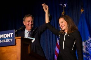 Governor-elect Ned Lamont and Lieutenant Governor-elect Susan Bysiewicz celebrate their victory following Election Day on Nov. 7, 2018. Photo by Frankie Graziano for Connecticut Public Radio