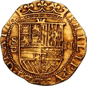The front of a 2 Escudos coin, or doubloon, minted in Seville, Spain between 1556 and 1598. Sold at auction in 2010 for $1,770. Courtesy Stack's Bowers Galleries