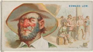"Allen & Ginter cigarette card insert, circa 1888, showing Edward Low and a scene of him ""torturing a Yankee,"" both imagined by the illustrator. Other than one contemporary source that said Low was a small man, we know nothing about how he looked. Courtesy of The Metropolitan Museum of Art, The Jefferson R. Burdick Collection, Gift of Jefferson R. Burdick"