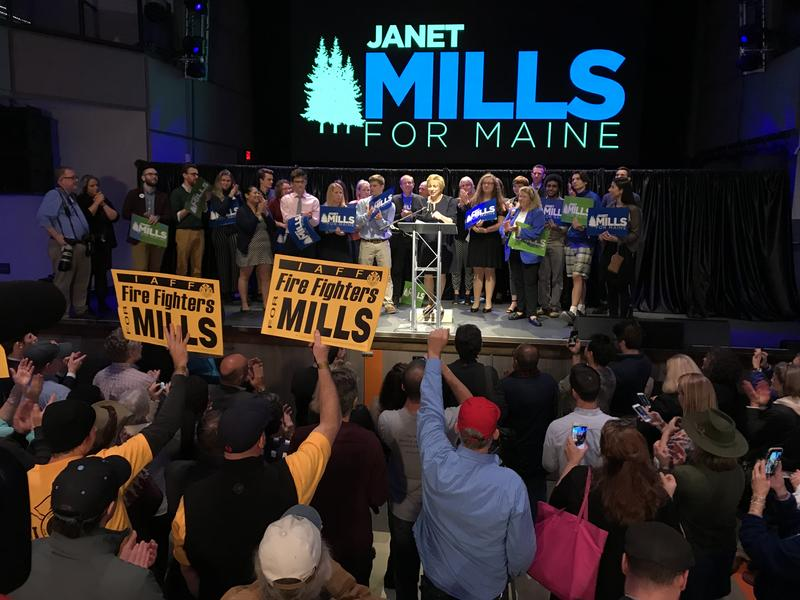 Democrat Janet Mills, winner of Maine's gubernatorial contest, addresses supporters early Wednesday morning in Portland. Photo by Rebecca Conley for Maine Public