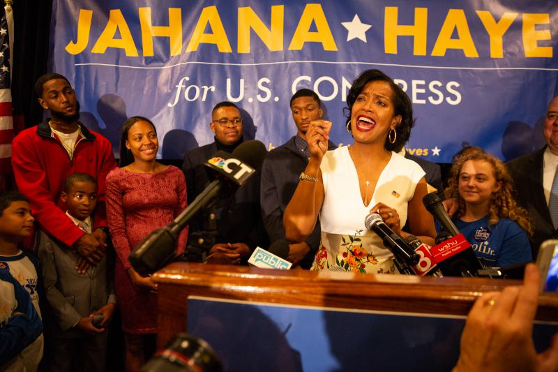 Democrat Jahana Hayes addresses her supporters in Waterbury after declaring victory in her U.S. House race against Republican Manny Santos. Hayes becomes the first black woman elected to Congress in Connecticut. Photo by Ryan Caron King for Connecticut Public Radio