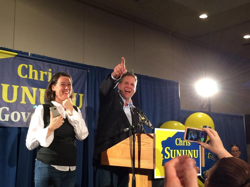 Governor Chris Sununu gives his victory speech in Manchester. Photo by Sam Evans-Brown for NHPR