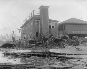 Fire House no. 31 damaged, Molasses Disaster. Photo courtesy of the Boston Public Library, Leslie Jones Collection