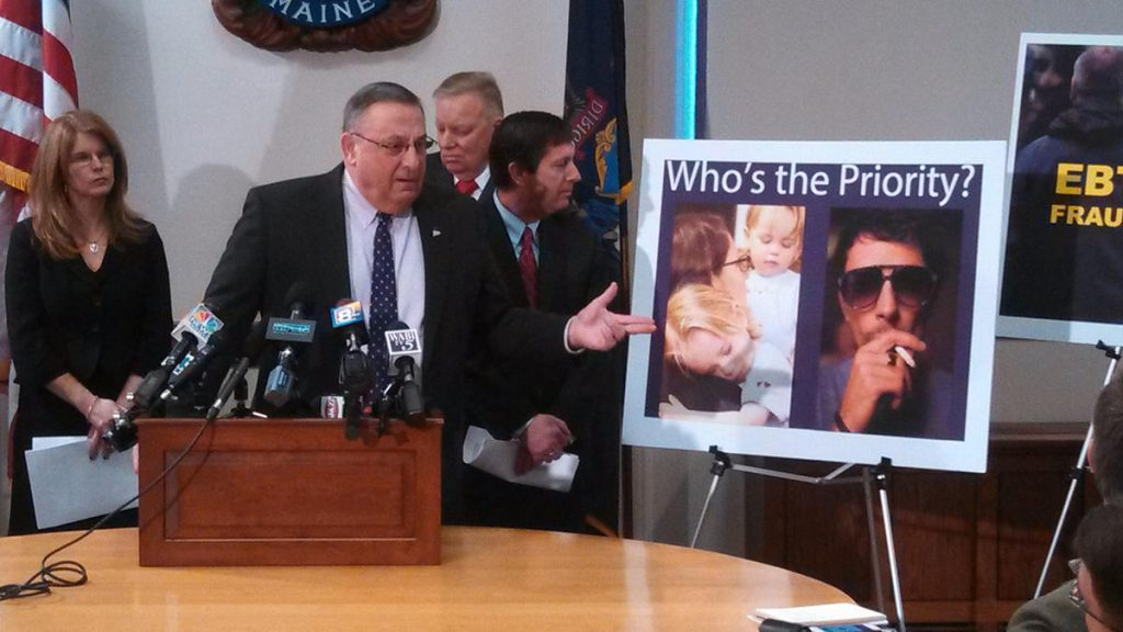 Gov. Paul LePage announces his legislation to revamp welfare, including limits on what could be purchased with food stamps. Photo by Mal Leary for Maine Public
