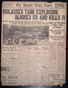 Front page news coverage of the Molasses Disaster in the Boston Daily Globe. Photo courtesy of Boston Public Library, Flickr, Creative Commons