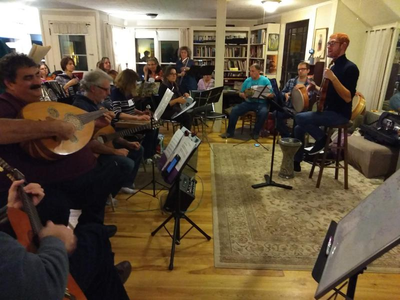 Members of the Pioneer Valley Arabic Music Ensemble, rehearsing in Northampton, Massachusetts. Photo by Jill Kaufman for NEPR