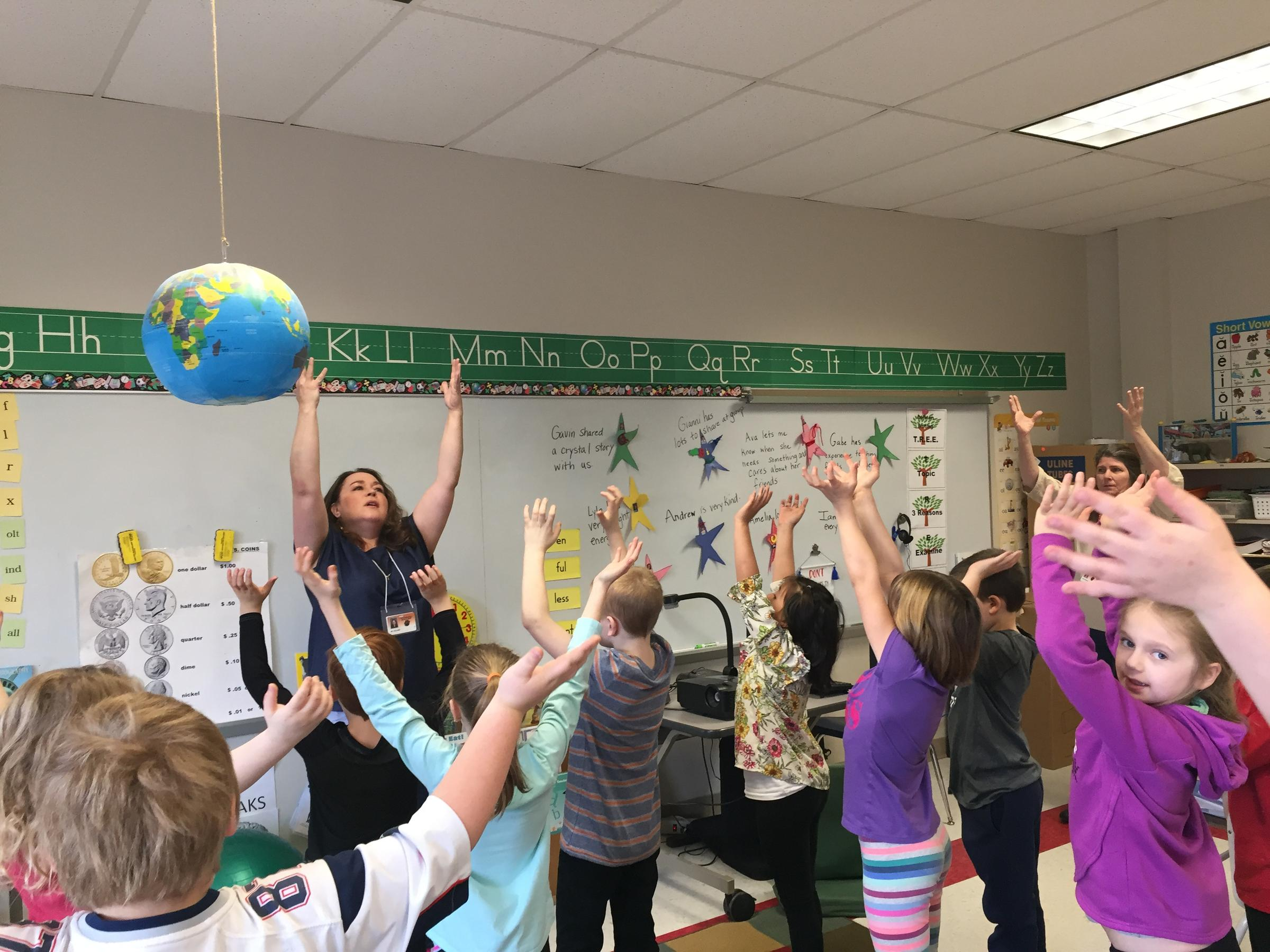 Teacher Jessica Pollard at Lee Elementary School leads her class in a mindfulness exercise. Photo by Karen Brown for NEPR
