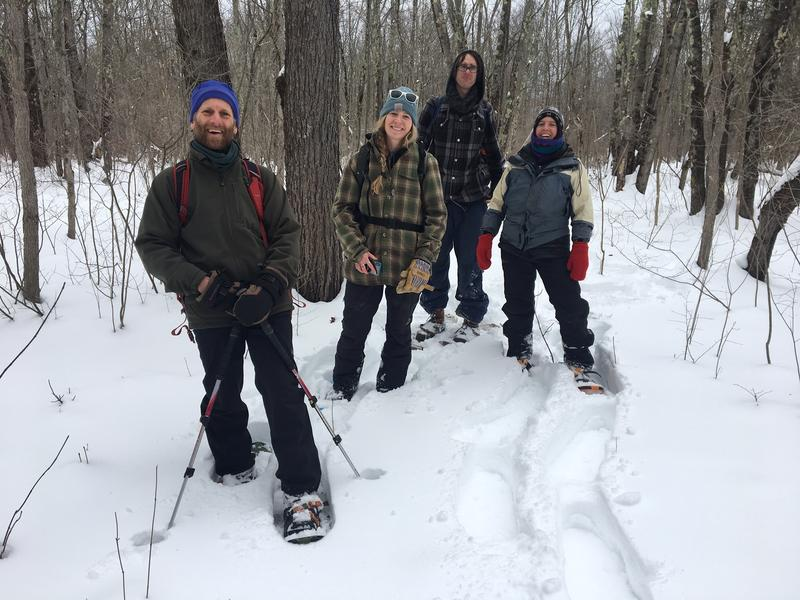 From left: Marc Lapin of Middlebury College, along with Tina Heath, Charlie Hohn and Zapata Courage from the state wetlands program. They recently toured the Cornwall swamp section of the Otter Creek wetlands. Photo by John Dillon for VPR