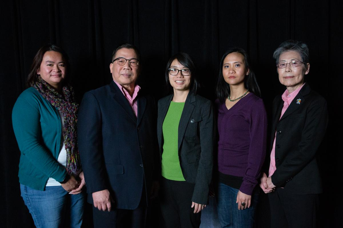 Mui Mui Hin-McCormick (at left) recruited the Asian Ambassadors a few years ago. They are Laotian elder Howard Phengsomphone, Vietnamese refugee Quyen Truong (center), Laotian refugee Sou Thammavong and Japanese immigrant Mari Merwin (at right). Photo by Ryan Caron King for Connecticut Public Radio
