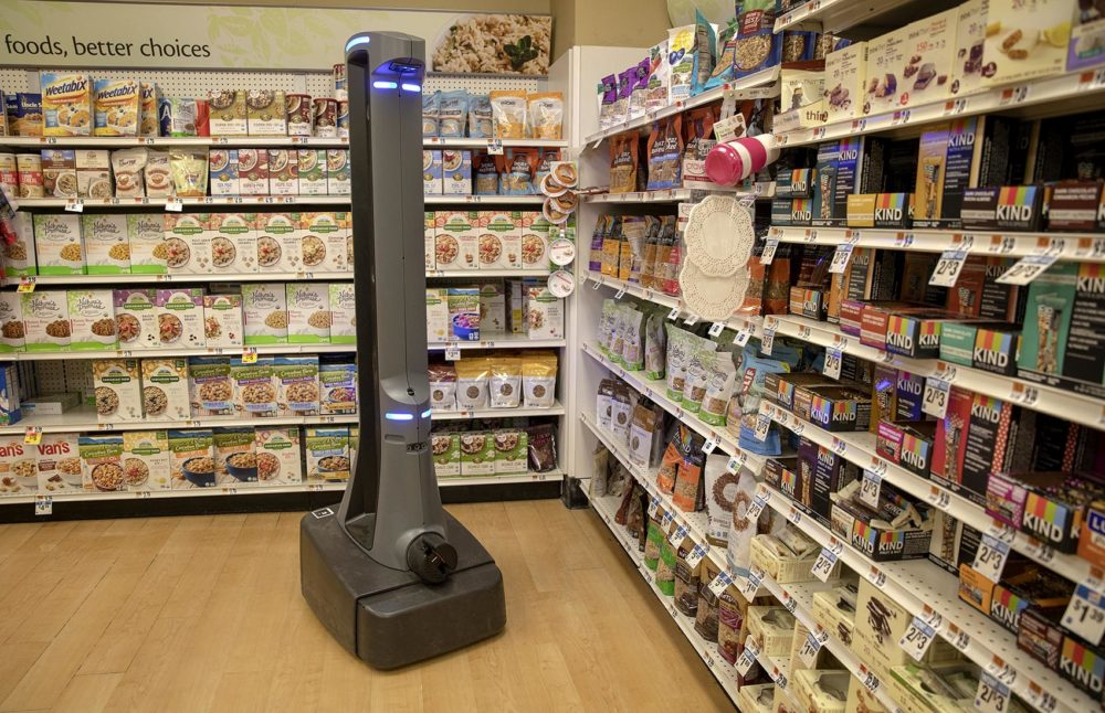 "Stop & Shop's autonomous robot ""Marty"" patrols a food aisle at the store in Clinton, Conn. Photo by Robin Lubbock for WBUR"