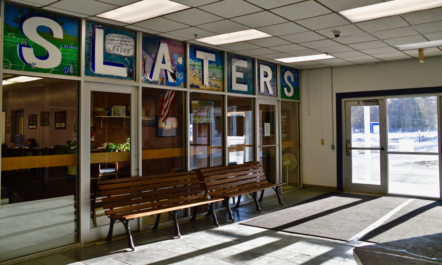 The entryway at Fair Haven Union High School in Vermont. Photo by Nina Keck for VPR