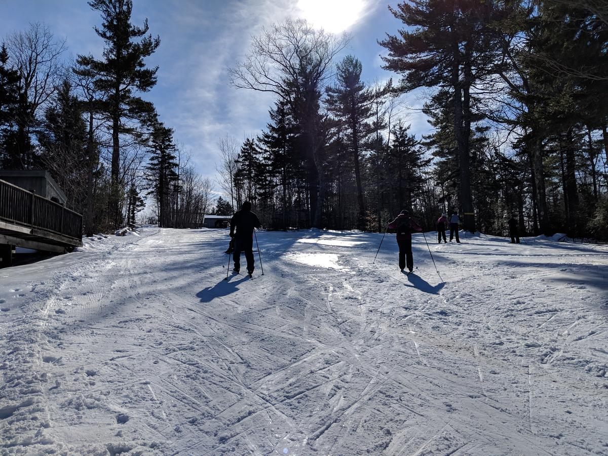 Cross-country skiers take advantage of great conditions - which have been the minority this winter - at Windblown ski area in New Ipswich in late February. Photo by Annie Ropeik for NHPR
