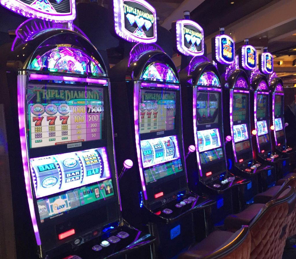 Slot machines at the MGM casino in Springfield, Massachusetts. Photo by Karen Brown for NEPR