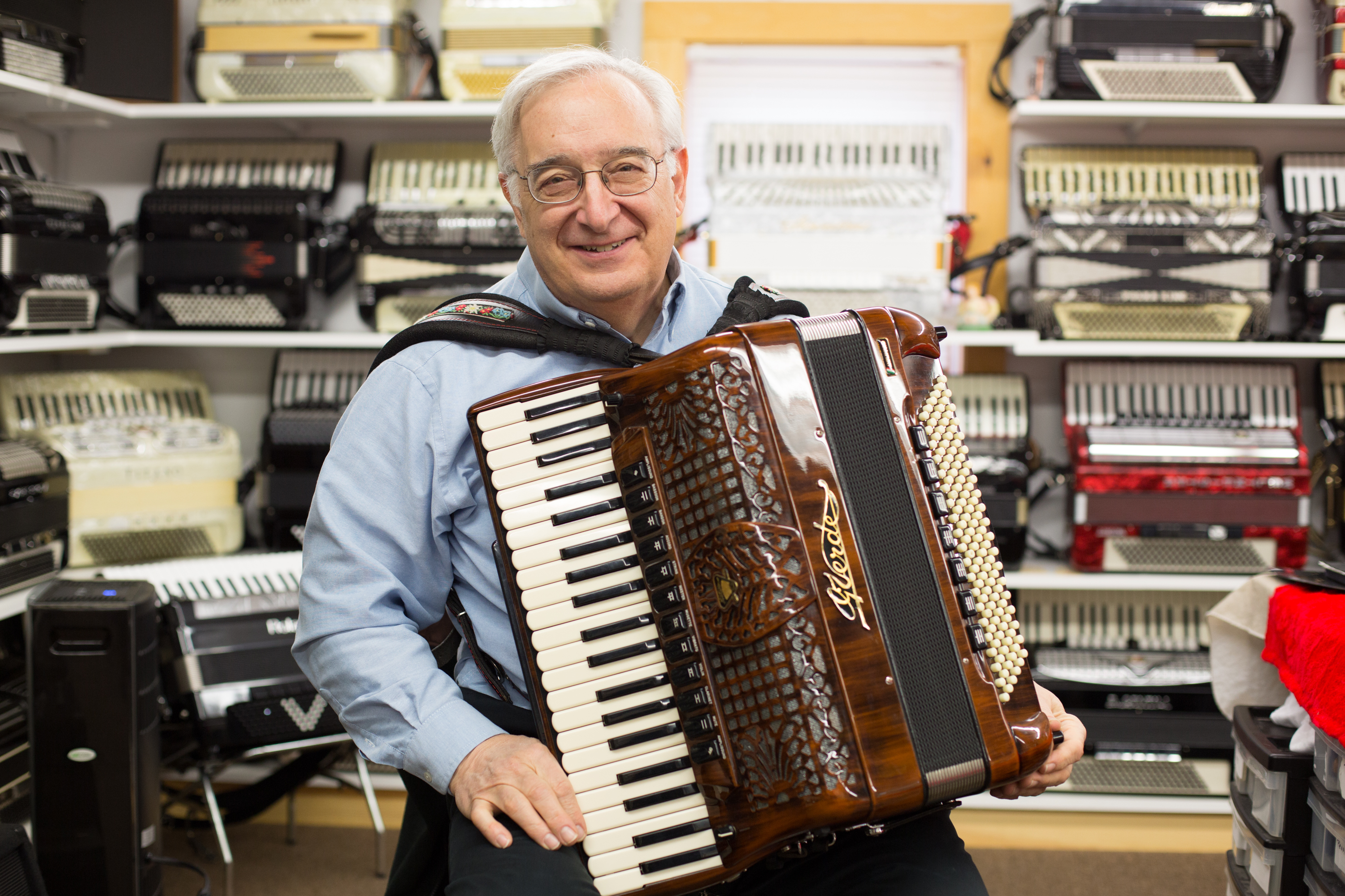 Angelo Paul Ramunni in his New England Accordion Connection and Museum. Photo by Carlos Mejia for the New England News Collaborative