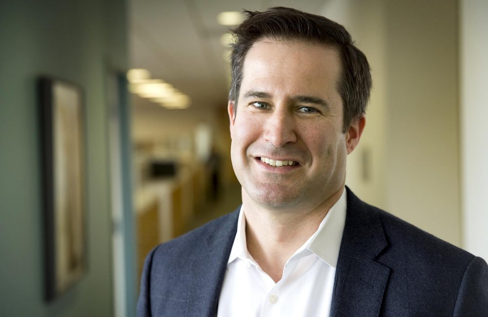 U.S. Rep. Seth Moulton at WBUR. Photo by Robin Lubbock for WBUR