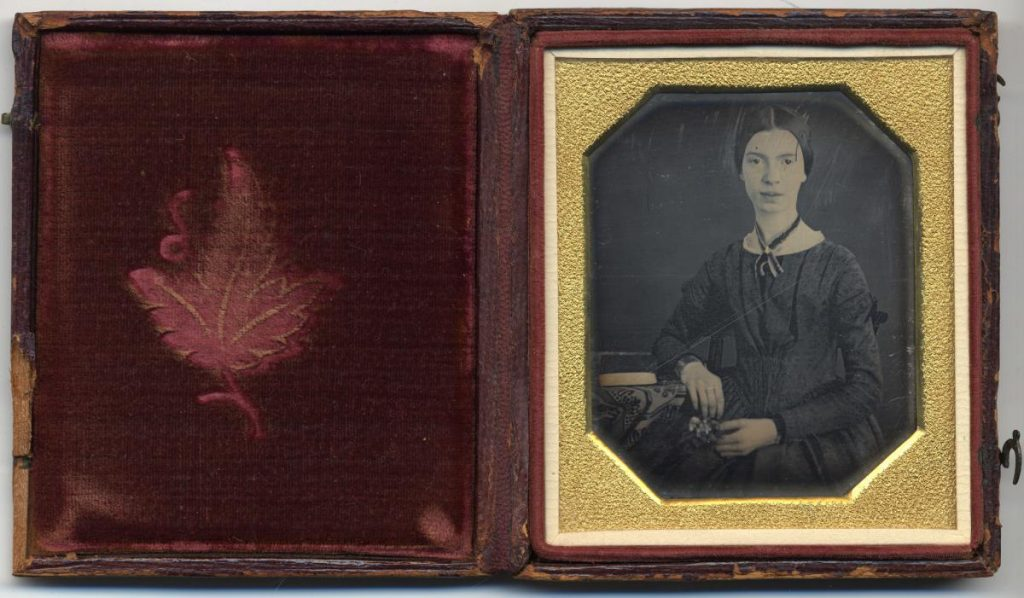 Original daguerreotype of the poet Emily Dickinson, taken in 1847. Photo credit of Amherst College archives and special collections / Public Domain