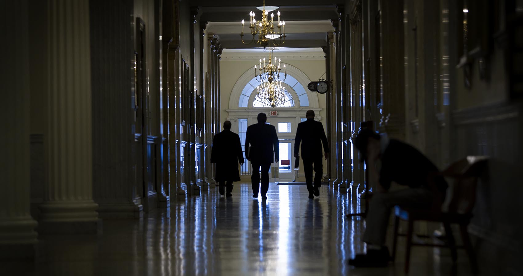 In the corridors of the Massachusetts State House. Photo by Robin Lubbock for WBUR