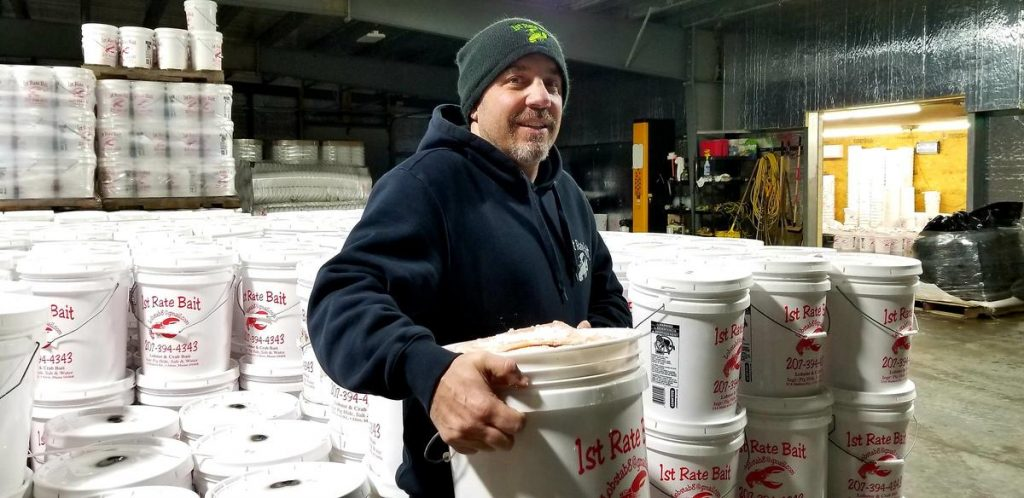 McDonald is the proprietor of First Rate Bait in Alton, Maine. Photo by Jennifer Mitchell for Maine Public