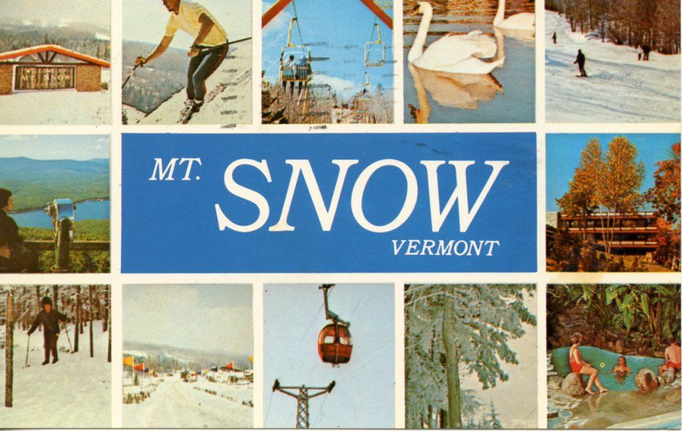 A 1980's postcard depicts Mt. Snow in Vermont. Photo credit of Dutch Simba, Flickr, Creative Commons