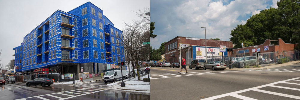 3200 Washington St., today, left, and back in 2015. Photo by Jesse Costa for WBUR