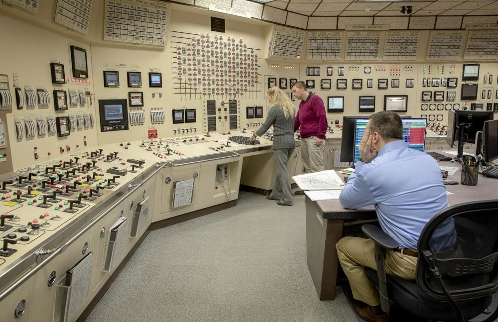 The reactor control room simulator is a duplicate of the real control room at Pilgrim Nuclear Power Station, used for training Pilgrim staff. Photo by Robin Lubbock for WBUR
