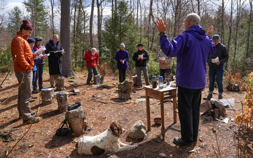 A service at the Church of the Woods in New Hampshire. Photo by James Napoli