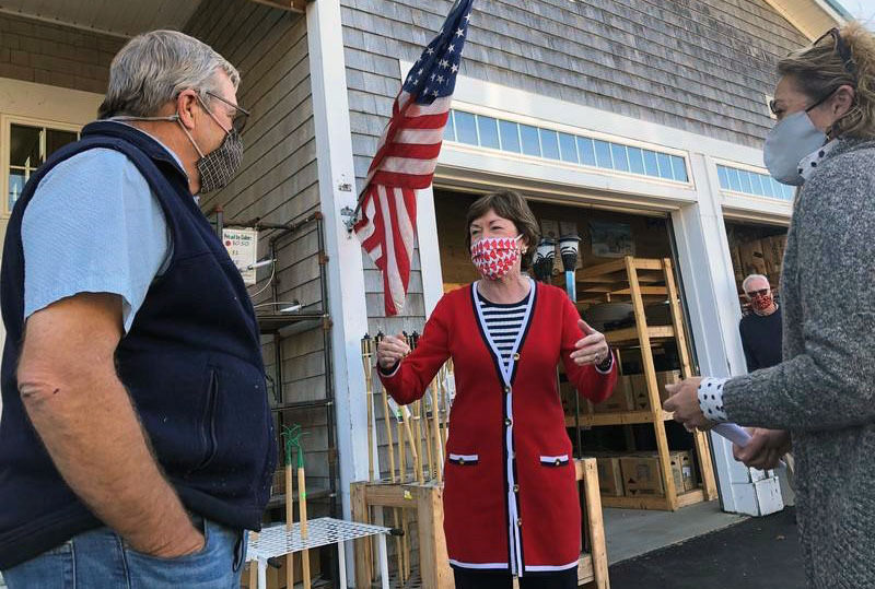 Maine Sen. Susan Collins on the campaign trail in September. The Republican is seeking her fifth term in a highly-contested race. (Fred Bever/Maine Public)