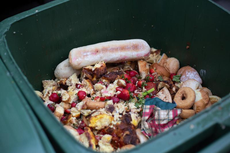 Food scraps in a trash can