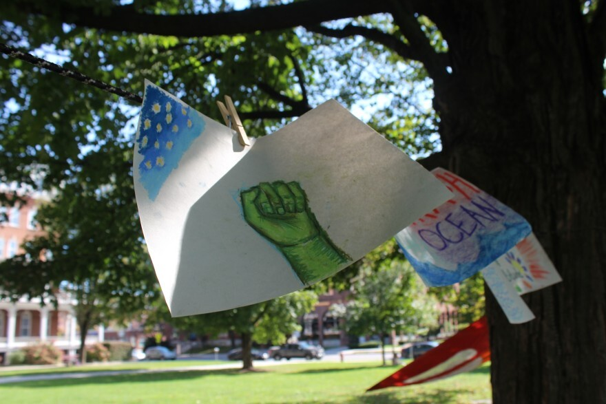 Newcomers to the Vermont Youth Lobby hung up drawings related to climate change on the Statehouse lawn.
