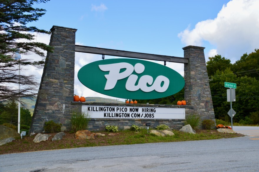 Photo of entrance to Pico Ski Resorts in Vermont with a sign that says the resort is hiring.