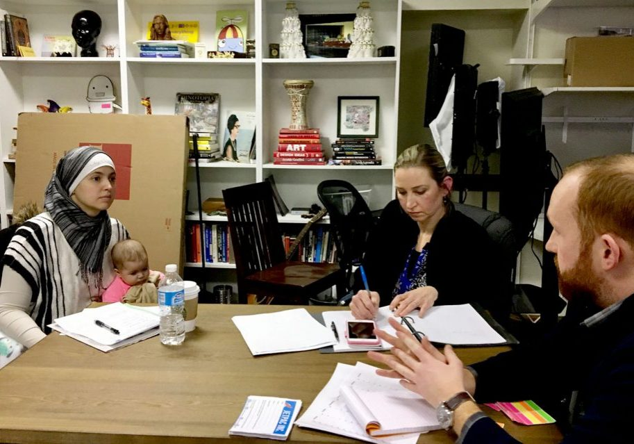 Nichole Mossalam of Malden (with her baby on her lap) and Sarah Khatib of Walpole are both exploring bids for elected office with the help of Jetpac, a nonprofit looking to engage Muslims in politics. Photo by Shannon Dooling for WBUR