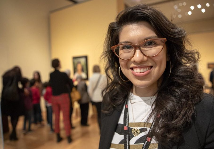 Layla Bermeo, Assistant Curator of American Paintings, at the Frida Kahlo exhibit at the MFA Boston. Photo by Robin Lubbock for WBUR