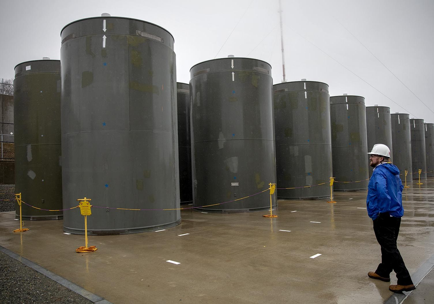 Spent fuel casks at Pilgrim Nuclear Power Station. Photo by Robin Lubbock for WBUR