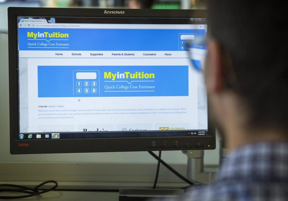 MyinTuition's college cost estimator page. Photo by Robin Lubbock for WBUR