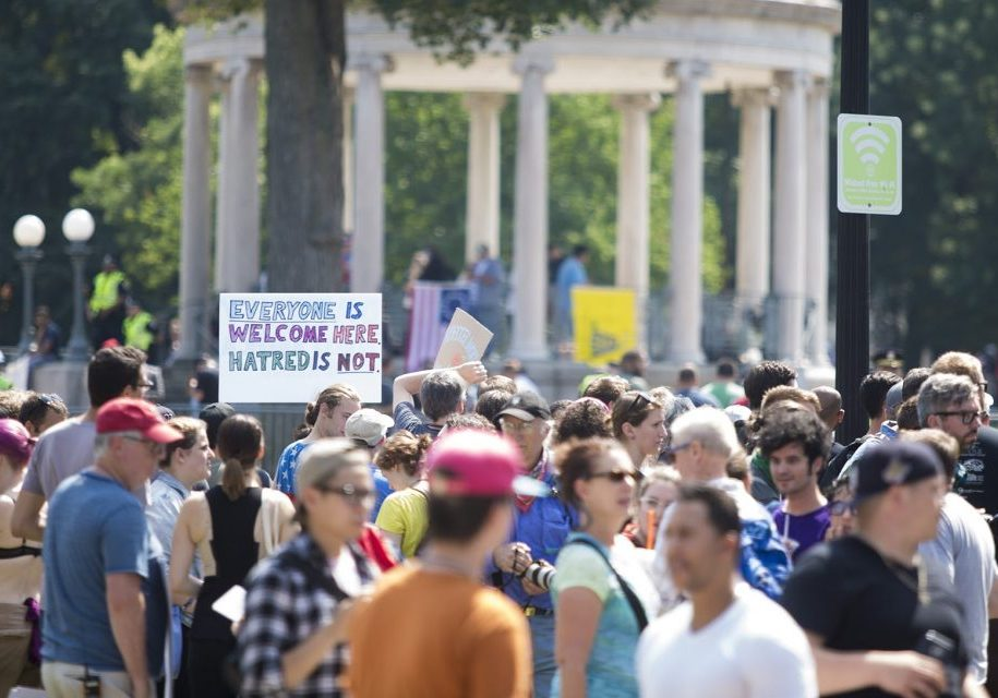 Counter protesters amassed outside of the barriers at the Parkman Bandstand. Photo by Jesse Costa for WBUR
