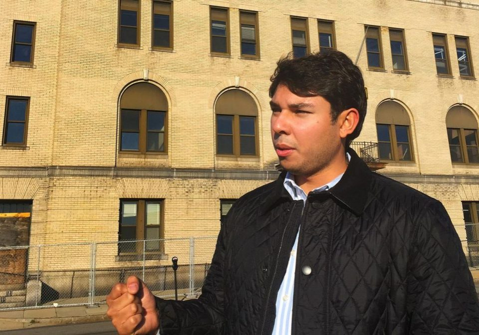 Jasiel Correia stands in front of the city's former police station, in this 2016 file photo. Photo by Simon Rios for WBUR