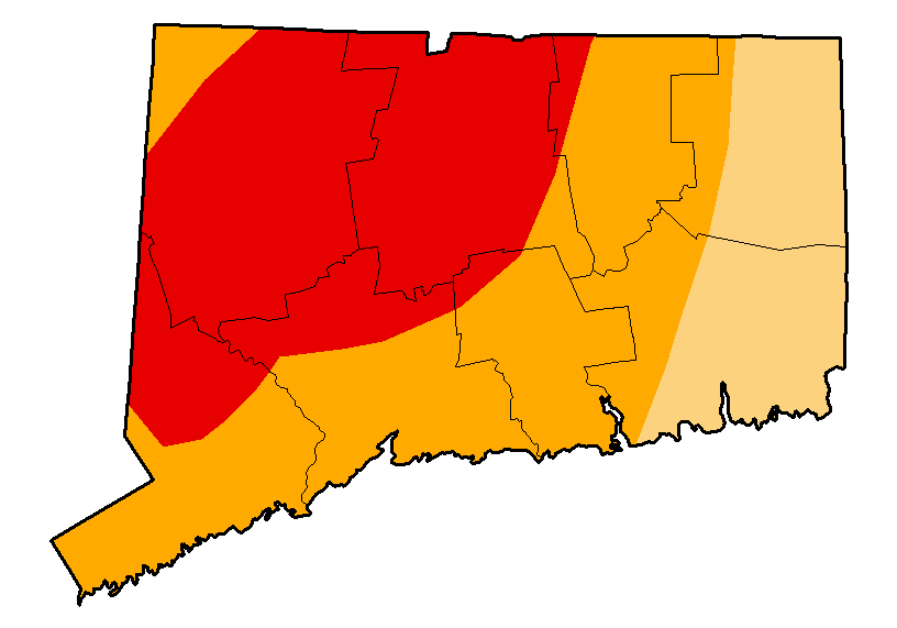"""Connecticut under the latest federal drought report. Areas in red are listed as being in """"extreme drought,"""" which is the U.S. Drought Monitor's second-highest classification. Graphic courtesy the National Drought Mitigation Center"""