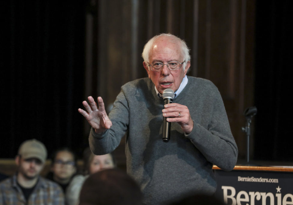 FILE - In this Sunday, Dec. 29, 2019, file photo, Democratic presidential candidate U.S. Sen. Bernie Sanders, I-Vt., speaks at a Newport Town Hall Breakfast at the Newport Opera House in Newport, N.H. Sanders says he raised more than $34.5 million in the final three months of 2019, showing that a recent heart attack hasn't slowed the Vermont senator's fundraising prowess with the start of the Democratic presidential primaries looming. (AP Photo/Cheryl Senter, File)