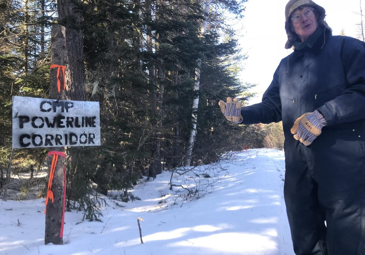 CMP's proposed transmission line would cross right over the trail Duane Hanson uses to get to his off-the-grid home near the Canadian border. Photo by Fred Bever for Maine Public