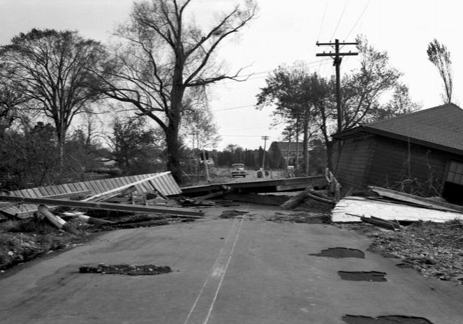 Central Bridge washout. Photo courtesy of the Rhode Island State Archives