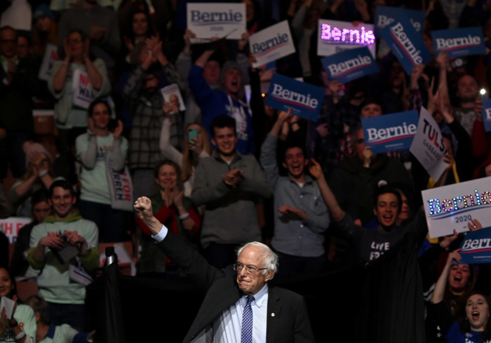 MANCHESTER, NH - February 8, Bernie Sanders takes the stage at the 2020 McIntyre-Shaheen 100 Club dinner held at the Southern New Hampshire University (SNHU) Arena on February 8, 2020 in Manchester, New Hampshire. (Joe Amon/Connecticut Public/NENC)