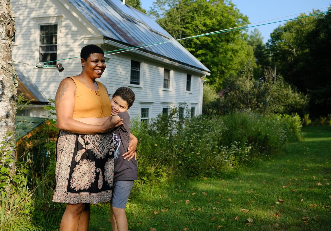 Sharonna Henderson's son, Hayden Dickinson, will participate in Wayne Miller's new mentorship program for black children. Photo by Britta Greene for New Hampshire Public Radio
