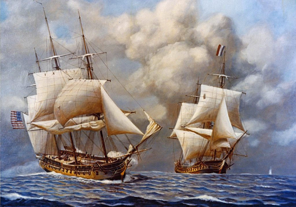 A depiction of the USS Constellation (left), commanded by Capt. Thomas Truxtun, capturing the French frigate L'Insurgente (right) on Feb. 9, 1799. Illustration courtesy National Archives